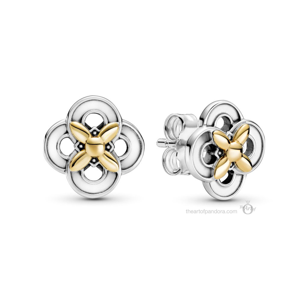 Pandora Two Tone Flower Stud Earrings (299349C00) spring 2021