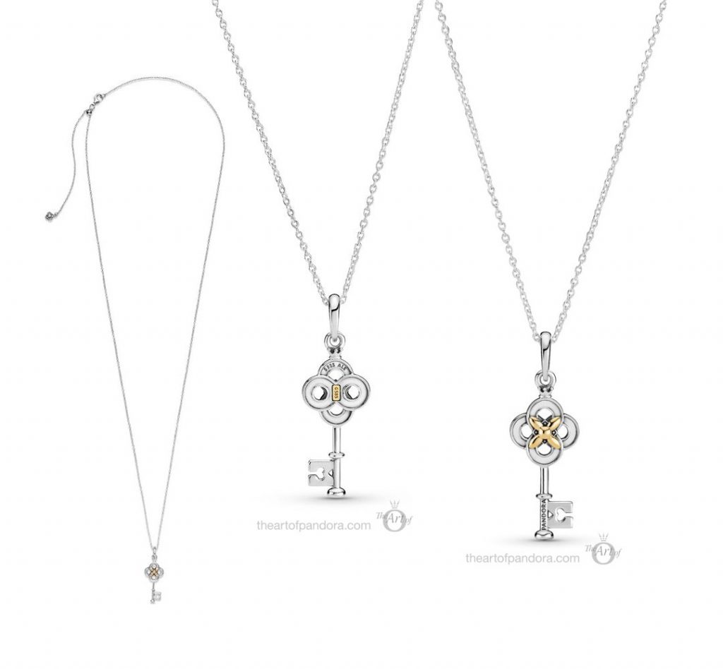 Pandora Two Tone Key Flower Necklace (399339C01) spring 2021