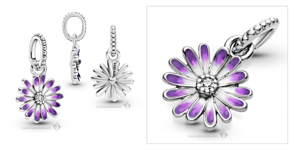 Pandora Purple Daisy Dangle Charm (798771C01) spring 2021