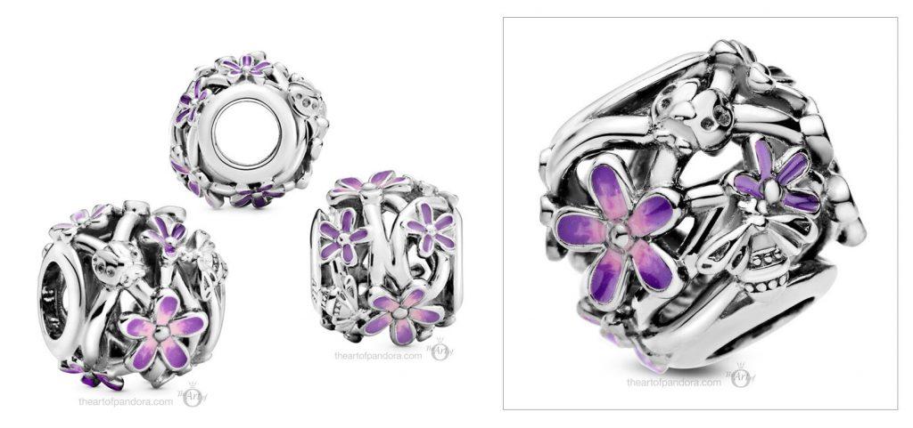 Pandora Openwork Purple Daisy Charm (798772C02) Spring 2021