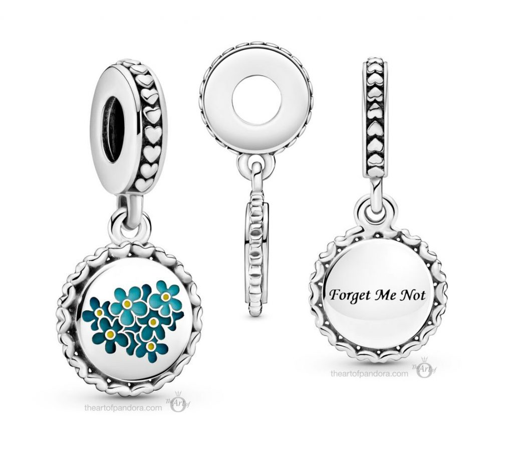 Country Exclusive Pandora Blue Forget-Me-Not Flower Dangle Charm (792018C00_E031)