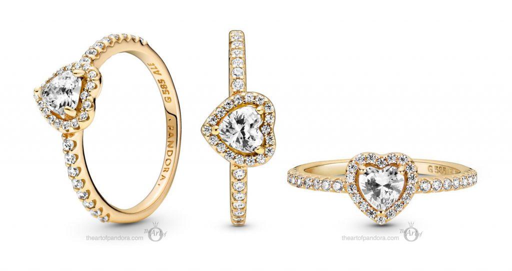 Pandora 14k Gold Elevated Heart Ring (159139C01)