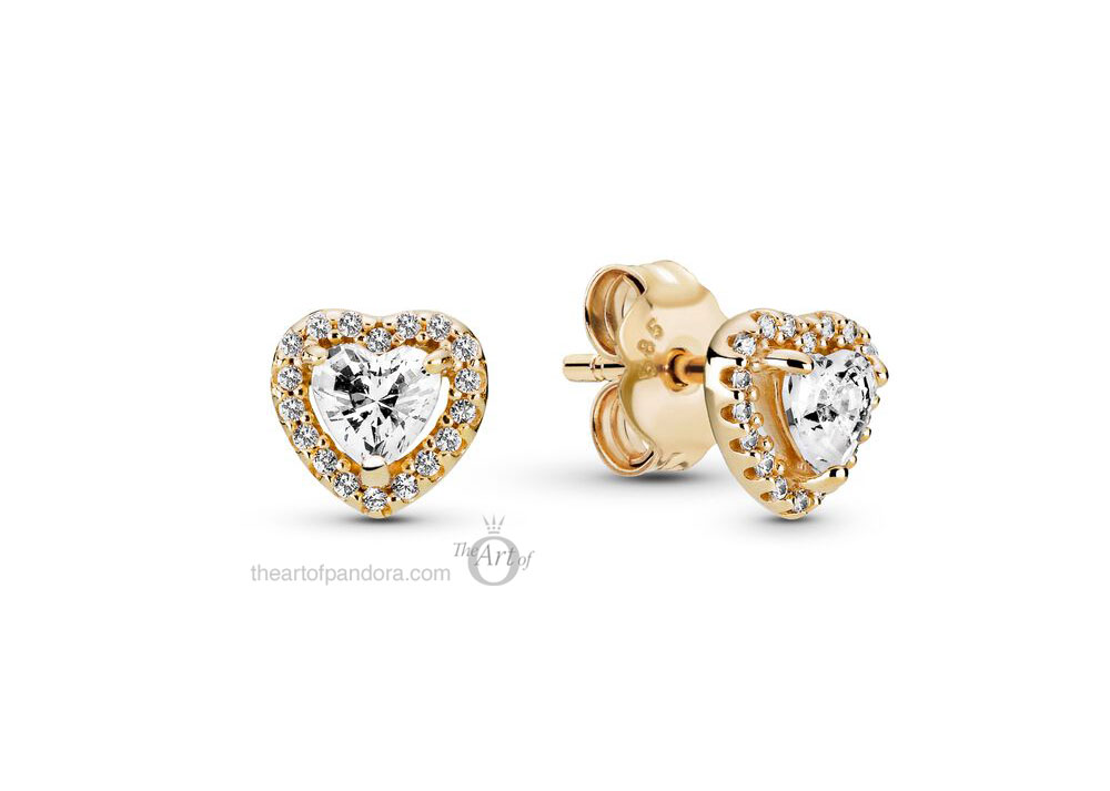 Pandora 14k Gold Elevated Heart Stud Earrings (259137C01) mothers day 2021 new collection 14ct