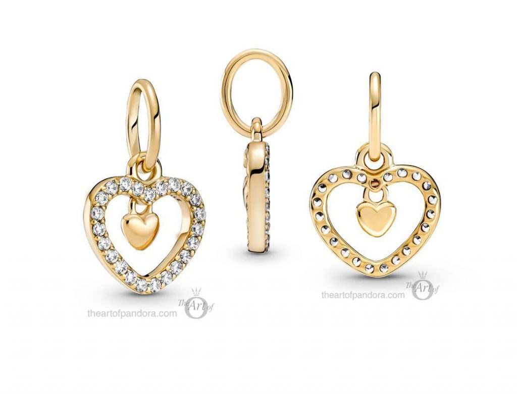 Pandora 14k Gold Sparkling Double Heart Dangle Charm (759142C01) mothers day 2021 new collection 14ct