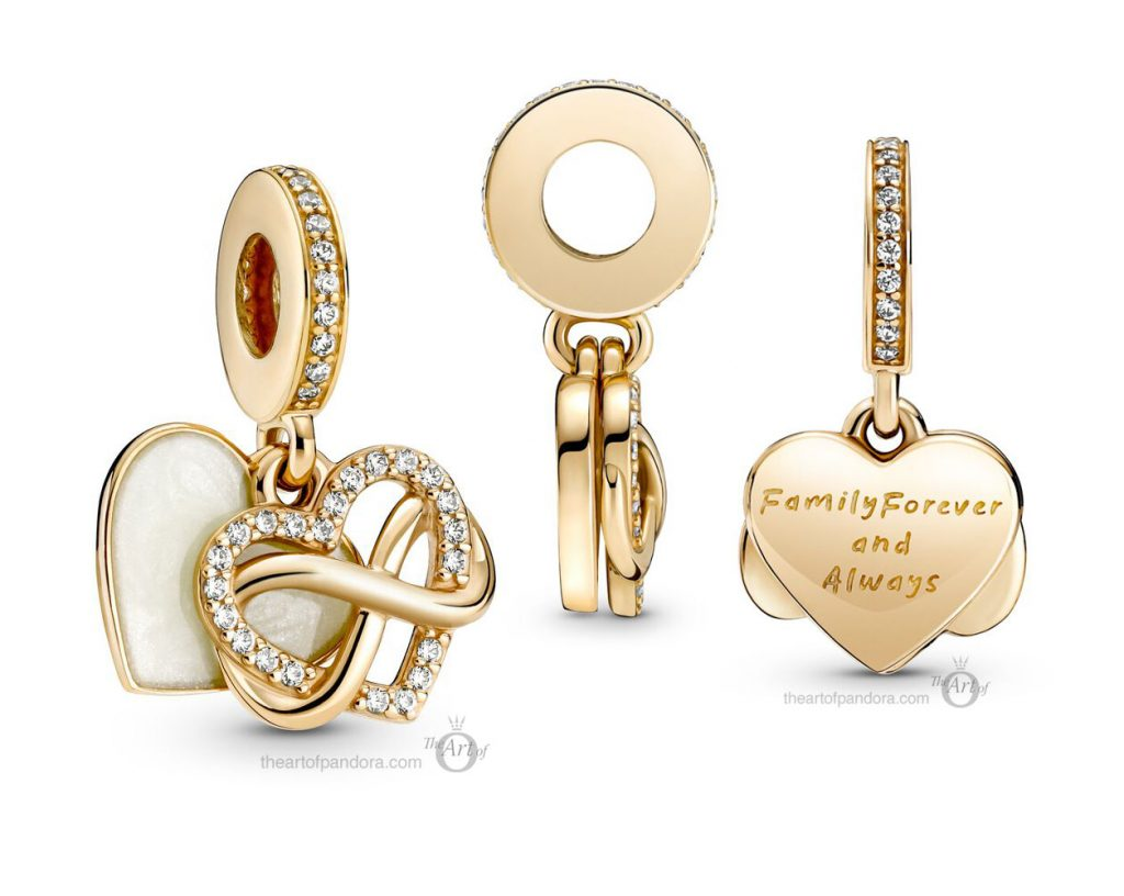 Pandora 14k Gold Sparkling Infinity Heart Dangle Charm (759516C01) mothers day 2021 new collection 14ct