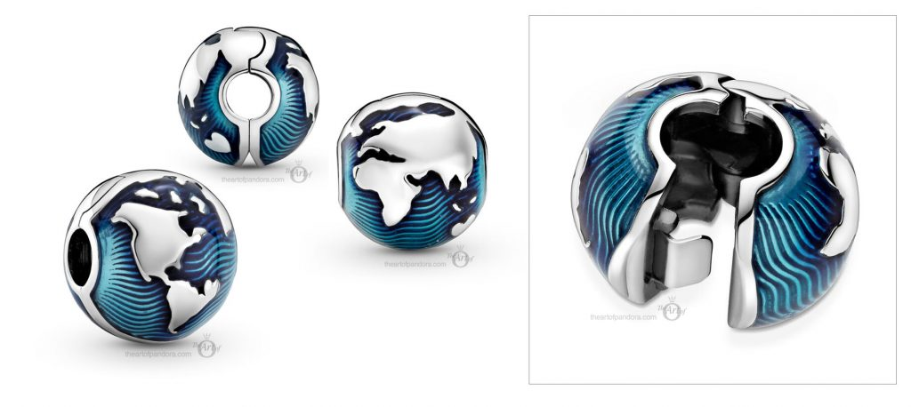 Брошь Pandora Blue Globe Clip (799429C01) Лето 2021