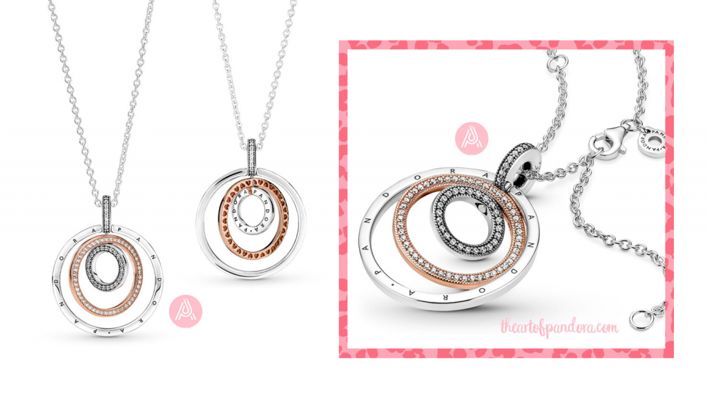 Pandora Two Tone Circles Pendant Necklace  (389483C01)  pre autumn 2021 signature  pre autumn 2021 signature