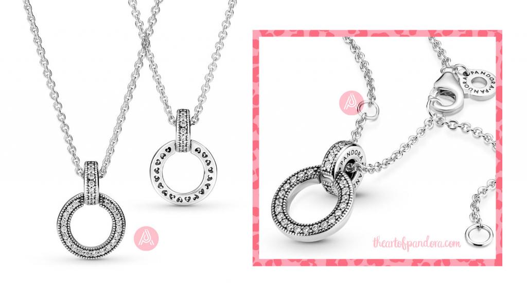 Pandora Double Circle Pendant Necklace (399487C01) pre autumn 2021 signature  pre autumn 2021 signature