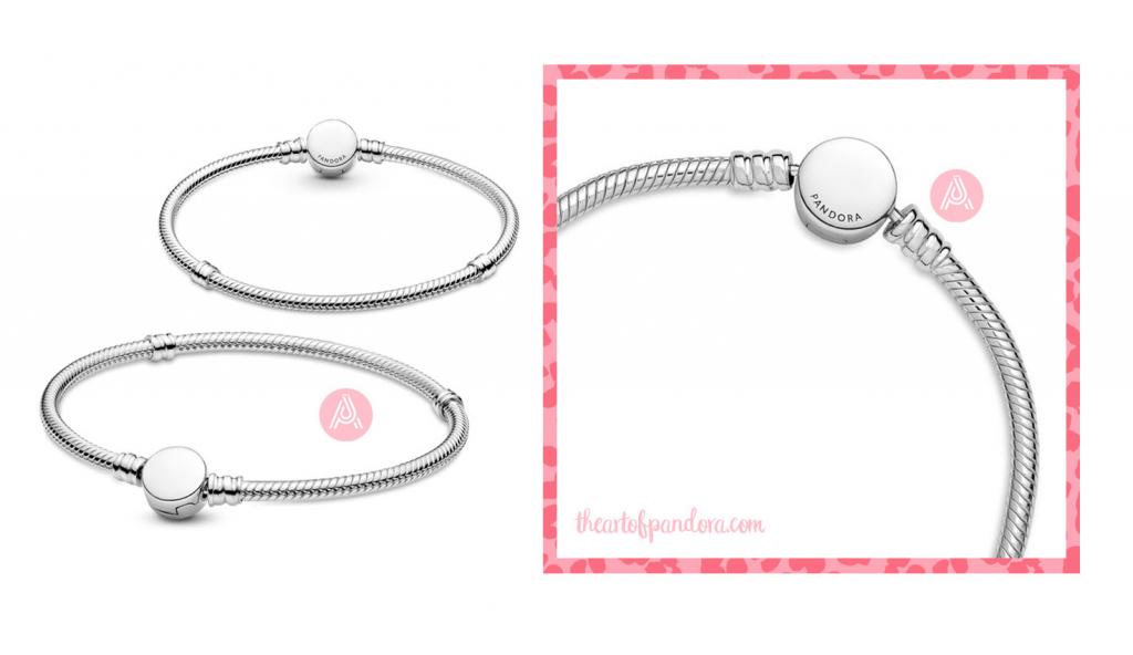 Pandora Moments Engravable Disc Clasp Snake Chain Bracelet (599381C00) autumn 2021