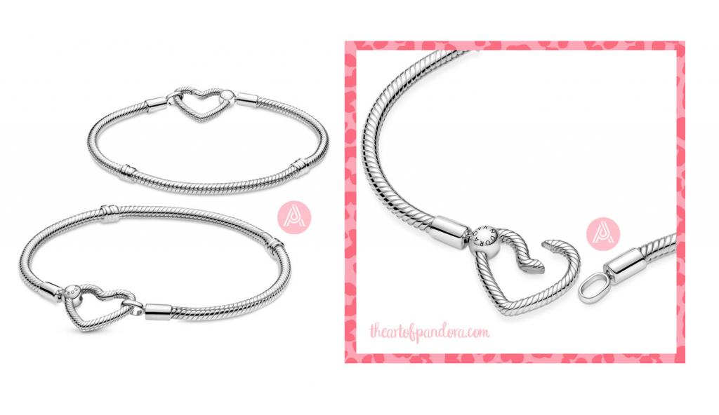 Pandora Moments Heart Closure Snake Chain Bracelet (599539C00) autumn 2021