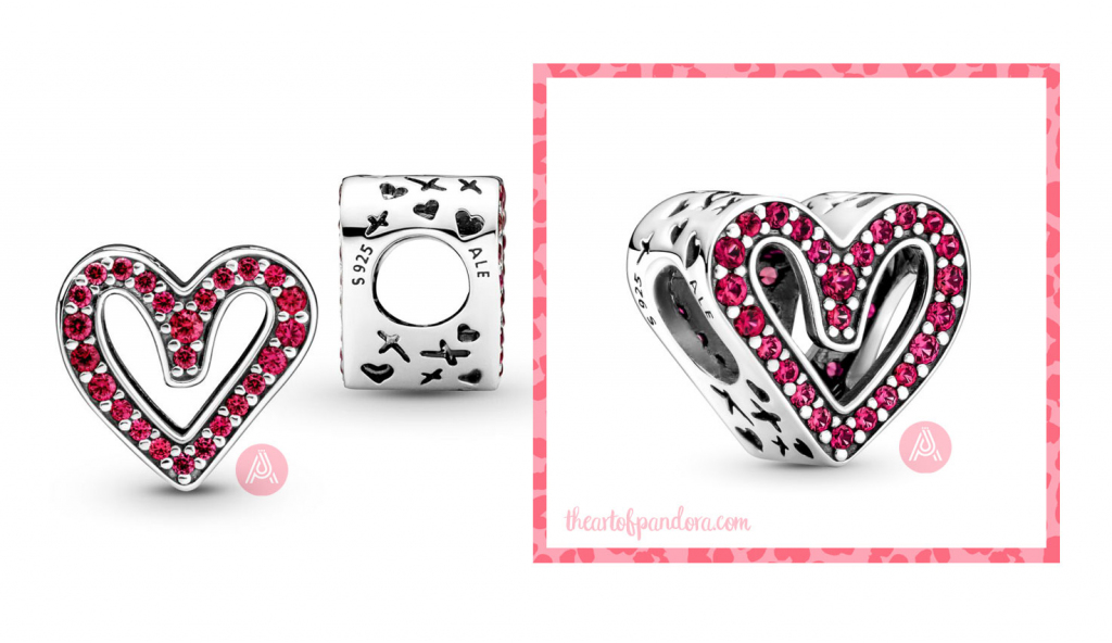 Pandora Sparkling Ruby Red Freehand Heart Charm (798692C02) autumn 2021