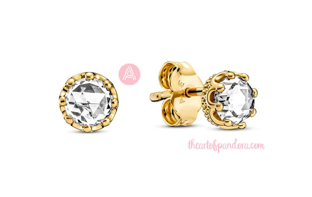 268311C01 Pandora Clear Sparkling Crown Stud Earrings autumn 2021