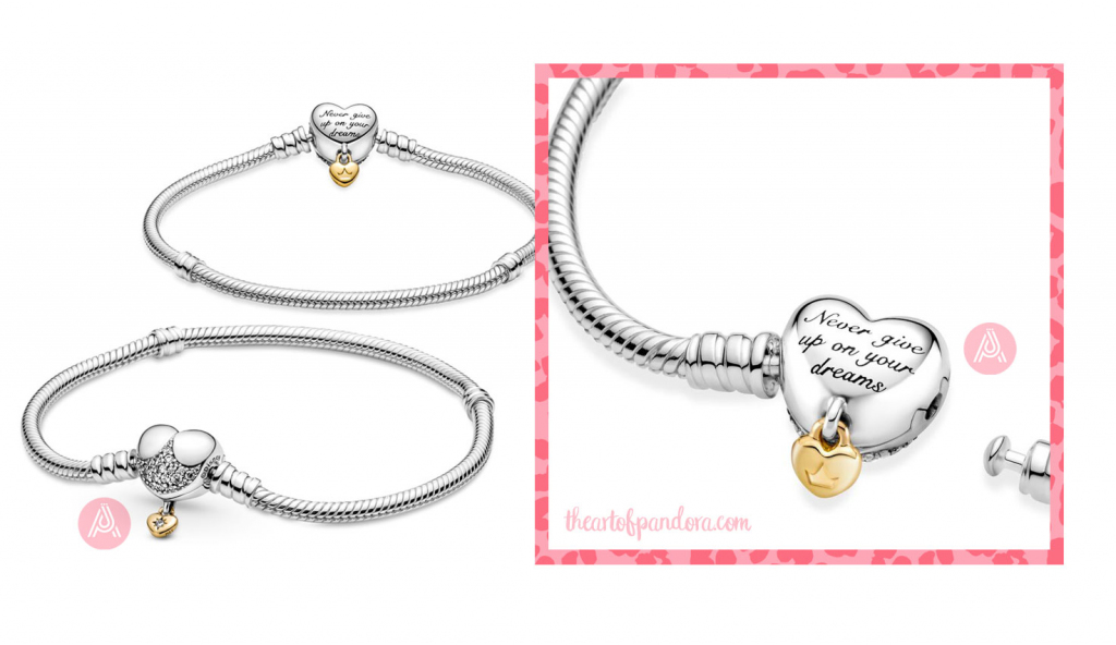 569563C01 Disney Pandora Moments Heart Clasp Snake Chain Bracelet autumn 2021