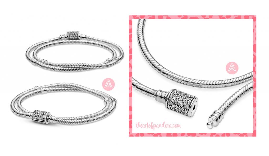 Pandora Moments Double Wrap Barrel Clasp Snake Chain Bracelet  (599544C01-D)